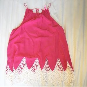 Lilly Pulitzer pink and white lace trim top